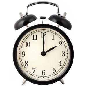 Alarm clock set for 2 o'clock.